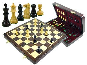 "Wood Chess Set Monarch Staunton King Size 2-7/8"" & 15"" Folding Chess Board/Box Rosewood/Maple"