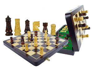 """Medieval Design Magnetic Theme Chess Set 3"""" & 16"""" Folding Chess Board Rosewood/Maple"""