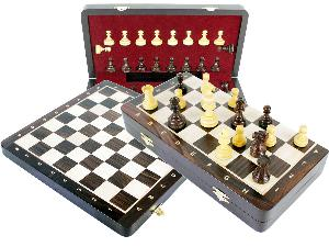 "Wooden Chess Set Folding 13"" Board + Broad Base Weighted Pieces with 2 Extra Queens and 2 Extra Pawns Rosewood / Maple + Notations"