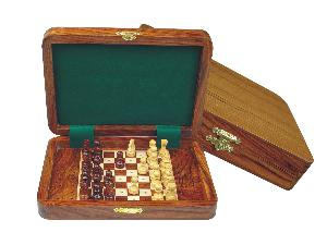 "Wood Travel Pegged Chess Set Inlaid Board Inside & Pieces Golden Rosewood/Maple 8""x6"""