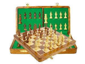 "Globe Design Artistic Chess Set 3"" & 14"" Folding Chess Board Golden Rosewood/Maple"