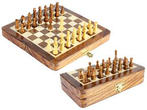 "6.25"" Wooden Chess Set Travel Magnetic Folding Board Golden Rosewood + 2 Extra Queens"