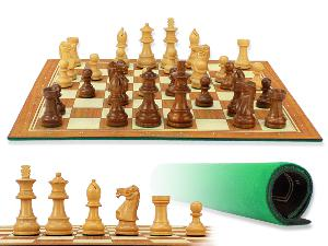 """Unique Staunton Wooden Chess Pieces 2-3/4"""" with Wood Tex Roll up 13"""" Chess Board and Velvet Pouch with Logo"""