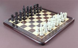 Ivory/Black Camel Bone Chess Set Pieces- 3.5
