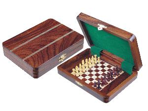 """Travel Pegged Chess Set Inlaid Wood Top Board Inside Rosewood/Maple 8""""x6"""""""