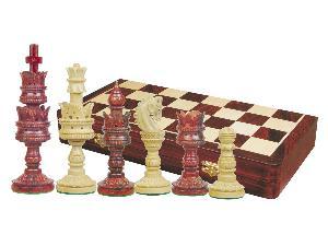 "Lotus Design Artistic Chess Set 4-1/4"" & 18"" Folding Chess Board Rosewood/Maple"