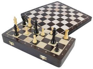 """Laughing Knight Staunton Ebony Chess Pieces & 16"""" Folding Wenge Wood Board with Inlaid Maple Algebraic Notations"""