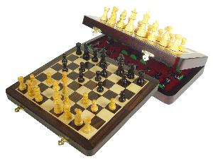 "Travel Chess Set Magnetic Folding 12"" with 2 Extra Queens, Pawns & 4 Extra Knights Rosewood/Maple"