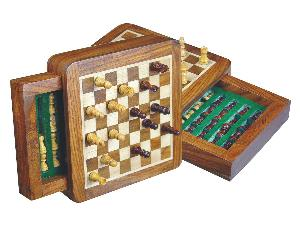 """Pocket Magnetic Chess Set 5"""" with Push Drawer Golden Rosewood/Maple"""