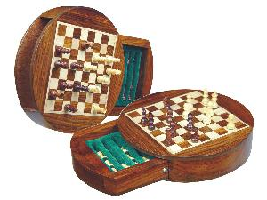 """Wood Magnetic Chess Set 6"""" Round Shape with Drawer Golden Rosewood/Maple"""