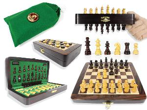 "Travel Magnetic Chess Set Folding 9"" with 2 Extra Queens, Pawns & Checkers Rosewood/Maple + Algebraic Notations"