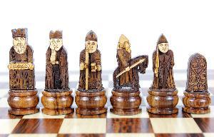 "Isle of Lewis Theme Magnetic Chess Set Folding 10"" Golden Rosewood/Maple"