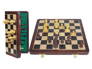 "Unique Travel Chess Set Magnetic Folding 14"" Rosewood/Maple"