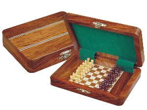 "Travel Pegged Chess Set Inlaid Wood Top Board Inside Golden Rosewood/Maple 7""x5"""