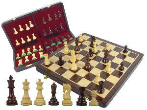 "Wooden Tournament Chess Set Yugo Staunton 3-3/4"" & 18"" Folding Chess Board and Box Rosewood/Maple"