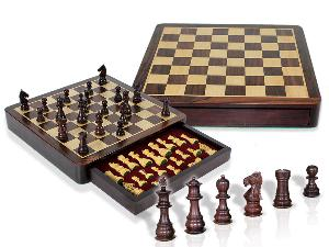 """Travel Chess Set Magnetic Drawer 12"""" Rosewood/Maple with 2 Extra Queens, 4 Extra Knights & 2 Extra Pawns"""