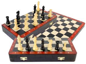 "Ebony Wood Folding 16"" Chess Board with inlaid Blood Wood border & Algebraic Notations + 3-3/4"" Laughing Knight Staunton Pieces"
