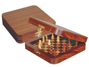 """Pocket Pegged Chess Set Wooden Board Inside Golden Rosewood/Maple 6""""x6"""""""