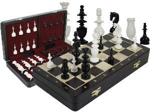 "French Regence Camel Bone 4"" Chess Pieces & 16"" Folding Wenge Wood Board with Inlaid Maple Algebraic Notations"