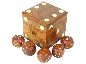 """Set of 5 Brass Inlaid Dice and 2-1/2"""" Dice Box in Golden Rosewood"""