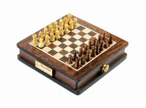 "Pocket Magnetic Chess Set 5"" with Pull Drawer in Golden Rosewood / Maple"