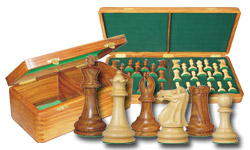 Wooden Chess Pieces with Storage Box