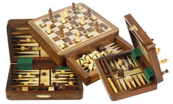 Wooden Magnetic Chess Backgammon Sets