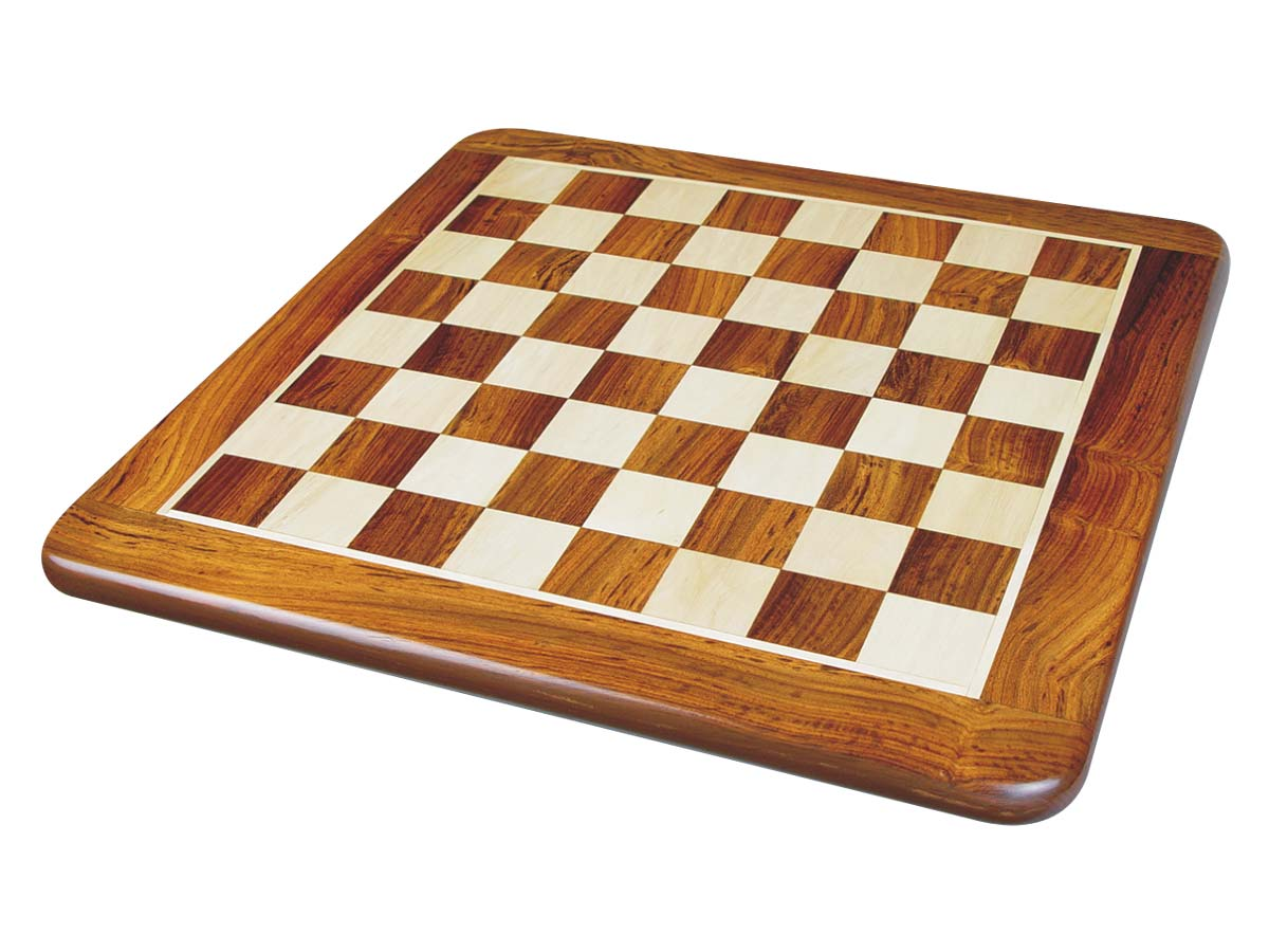 Wooden Flat Chess Board Golden Rosewood/Maple 15""