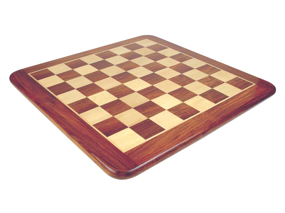 "Wooden Flat Chess Board Golden Rosewood/Maple 19"" Rounded Edges"