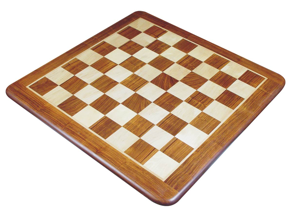 Wooden Flat Chess Board Golden Rosewood/Maple 25""