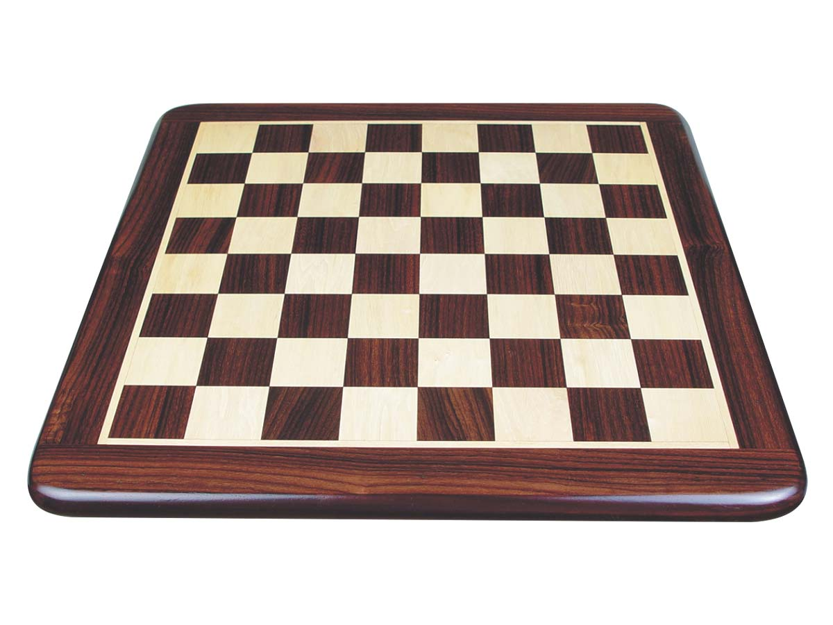 Rounded Edges Wooden Flat Chess Board Rosewood/Maple 18""