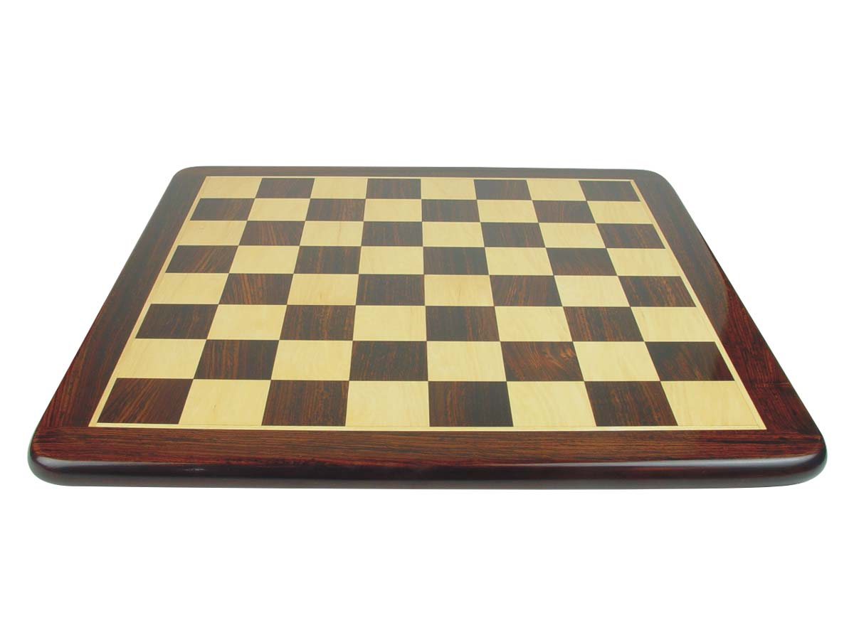 "Narrow Border Wooden Flat Chess Board Rosewood/Maple 23"" Rounded Edges"