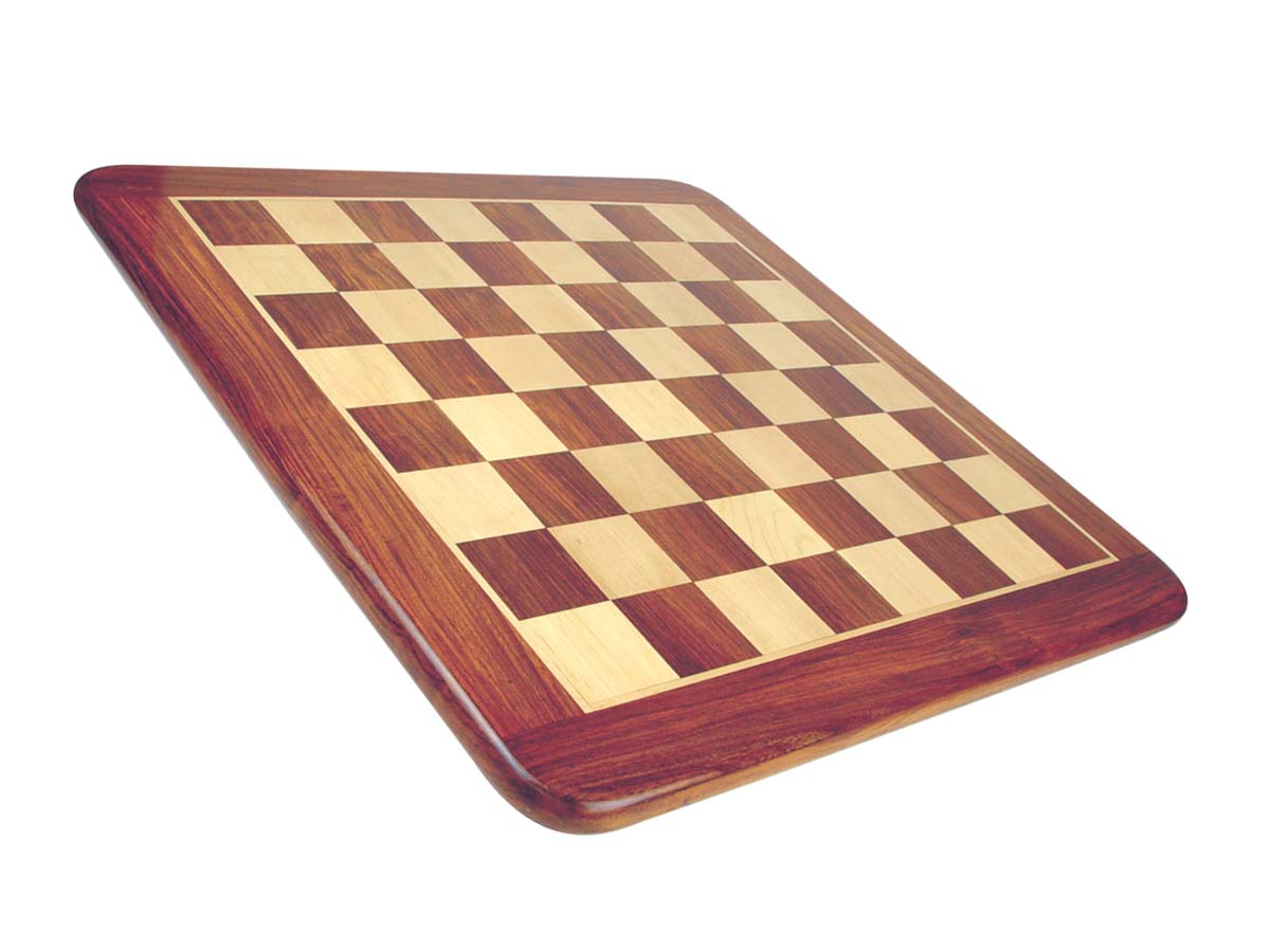 "Narrow Border Wooden Flat Chess Board Golden Rosewood/Maple 23"" Rounded Edges"