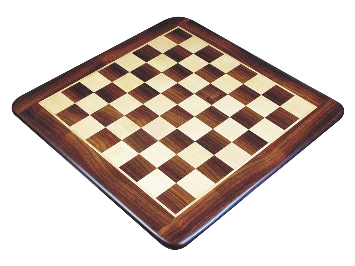 "Wooden Flat Chess Board Rosewood/Maple 23"" Rounded Edges"
