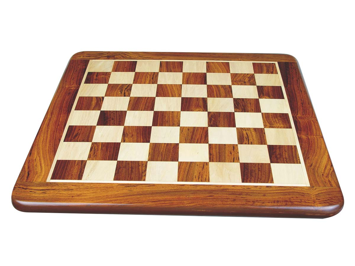 Flat Chess Board Golden Rosewood/Maple Rounded Edges 18""