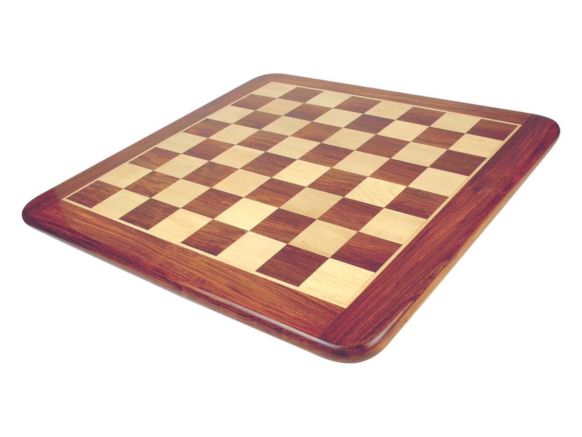 "Wooden Flat Chess Board Golden Rosewood/Maple 21"" Rounded Edges"