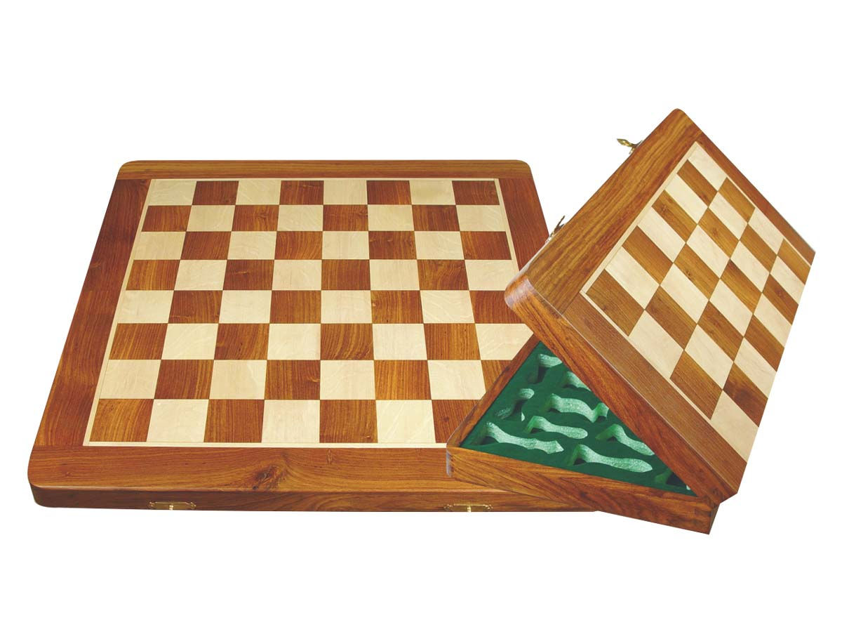 "Folding Chess Board/Box Golden Rosewood/Maple 20"" with chessmen inserts"