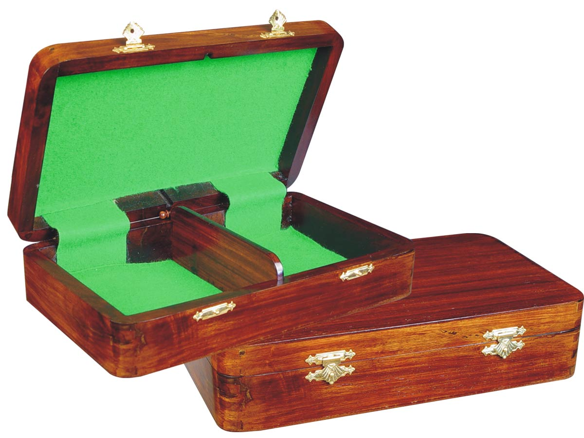 "Wooden Chess Pieces Storage Box for King Size 2-1/2"" to 2-3/4"" Walnut Colored"