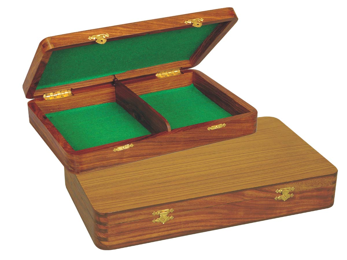 "Wooden Chess Pieces Storage Box for King Size 4"" to 4-1/2"" Golden Rosewood"