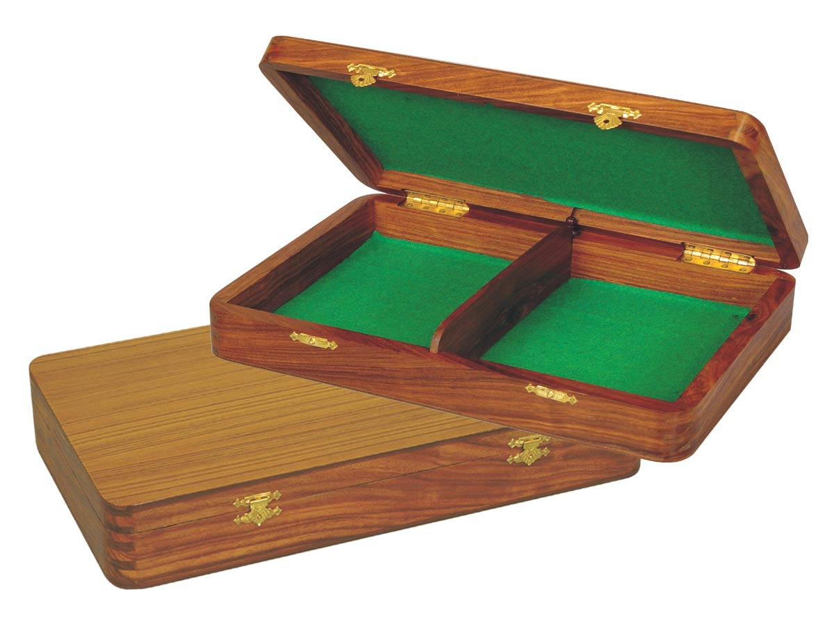 "Wooden Chess Pieces Storage Box for King Size 3"" to 3-1/2"" Golden Rosewood"