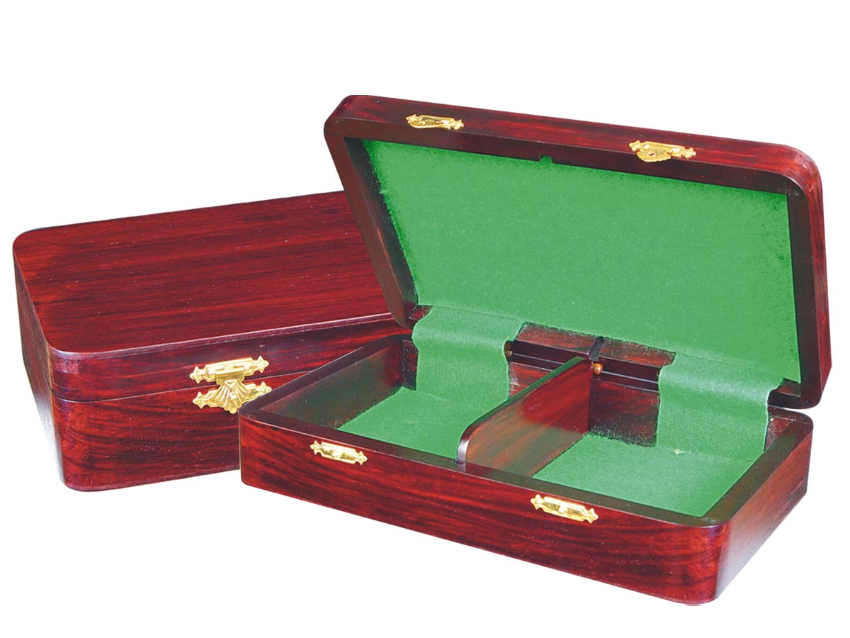 "Wooden Chess Pieces Storage Box for King Size 4"" to 4-1/2"" Rosewood Colored"