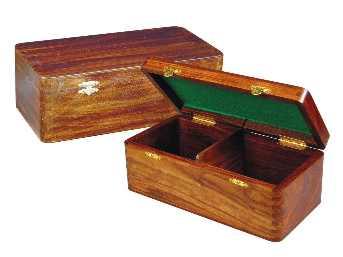 "Wooden Chess Box for Storage of Pieces from King Size 4-3/4"" to 5"" in Walnut Color"