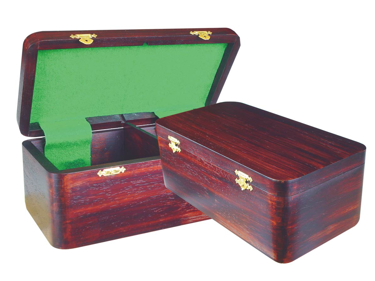 "Wooden Chess Box for Storage of Pieces from King Size 4"" to 4-1/2"" in Rosewood Color"
