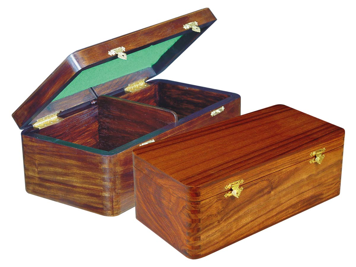 "Wooden Chess Box for Storage of Pieces from King Size 4"" to 4-1/2"" in Walnut Color"
