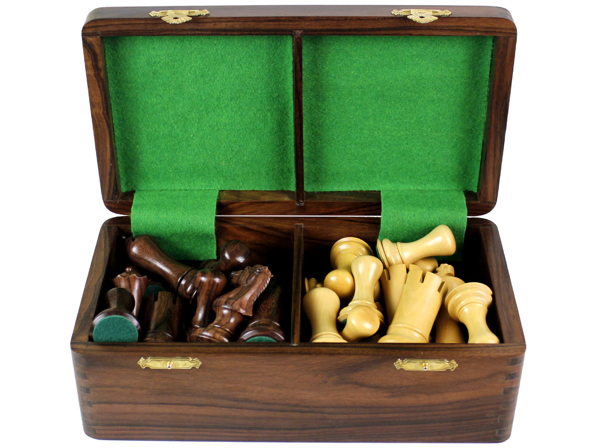 Inner view of chess box with pieces inside