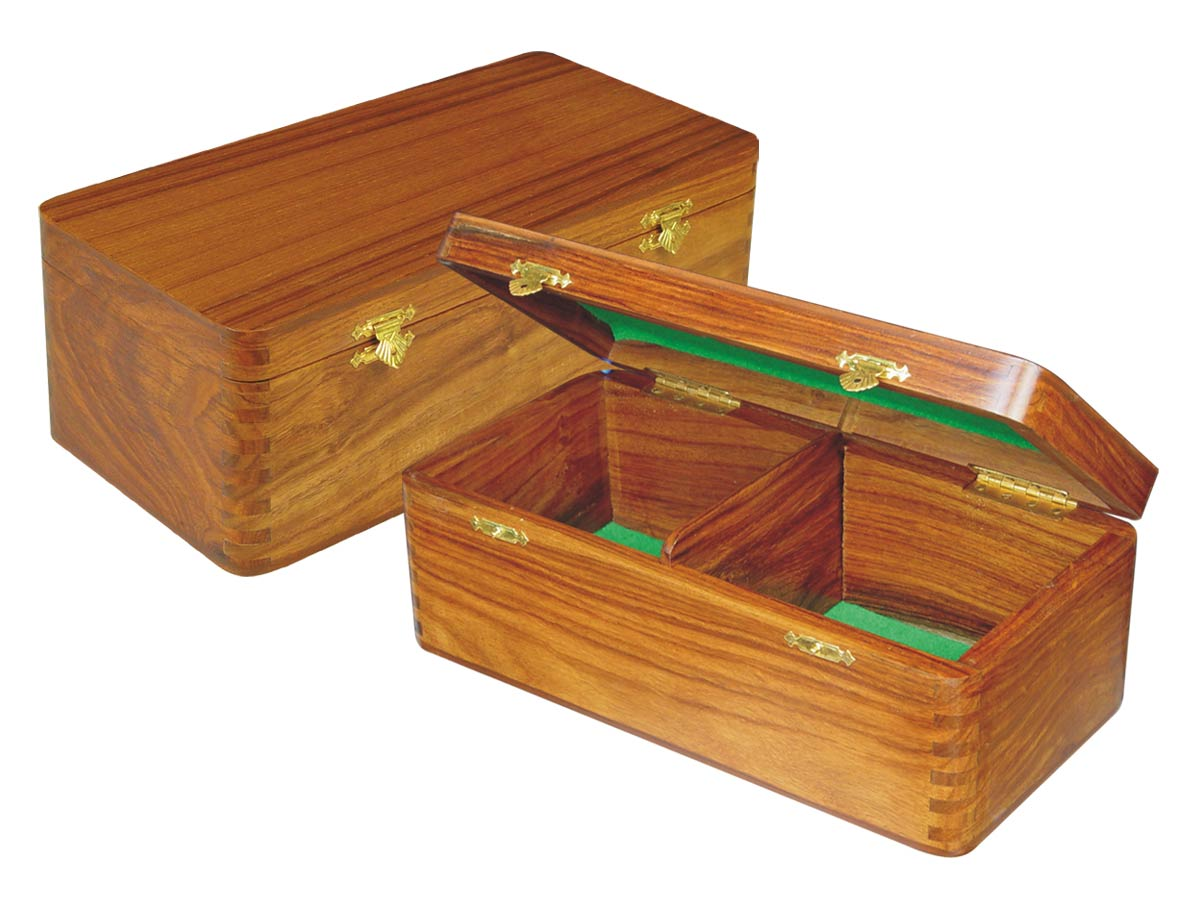 "Wooden Chess Box for Storage of Pieces from King Size 2-1/2"" to 2-3/4"" in Golden Rosewood"