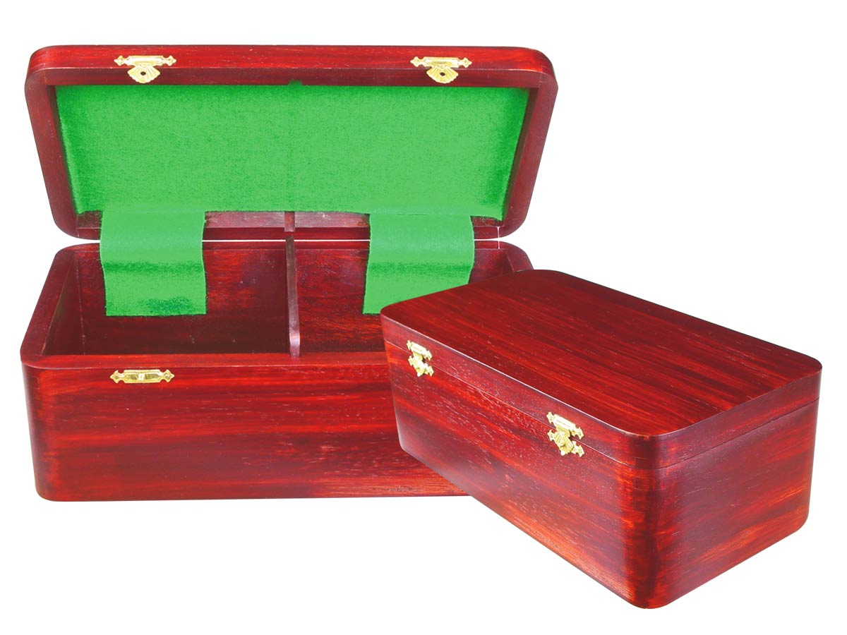 "Wooden Chess Box for Storage of Pieces from King Size 3-1/2"" to 3-3/4"" in Mahogany Color"