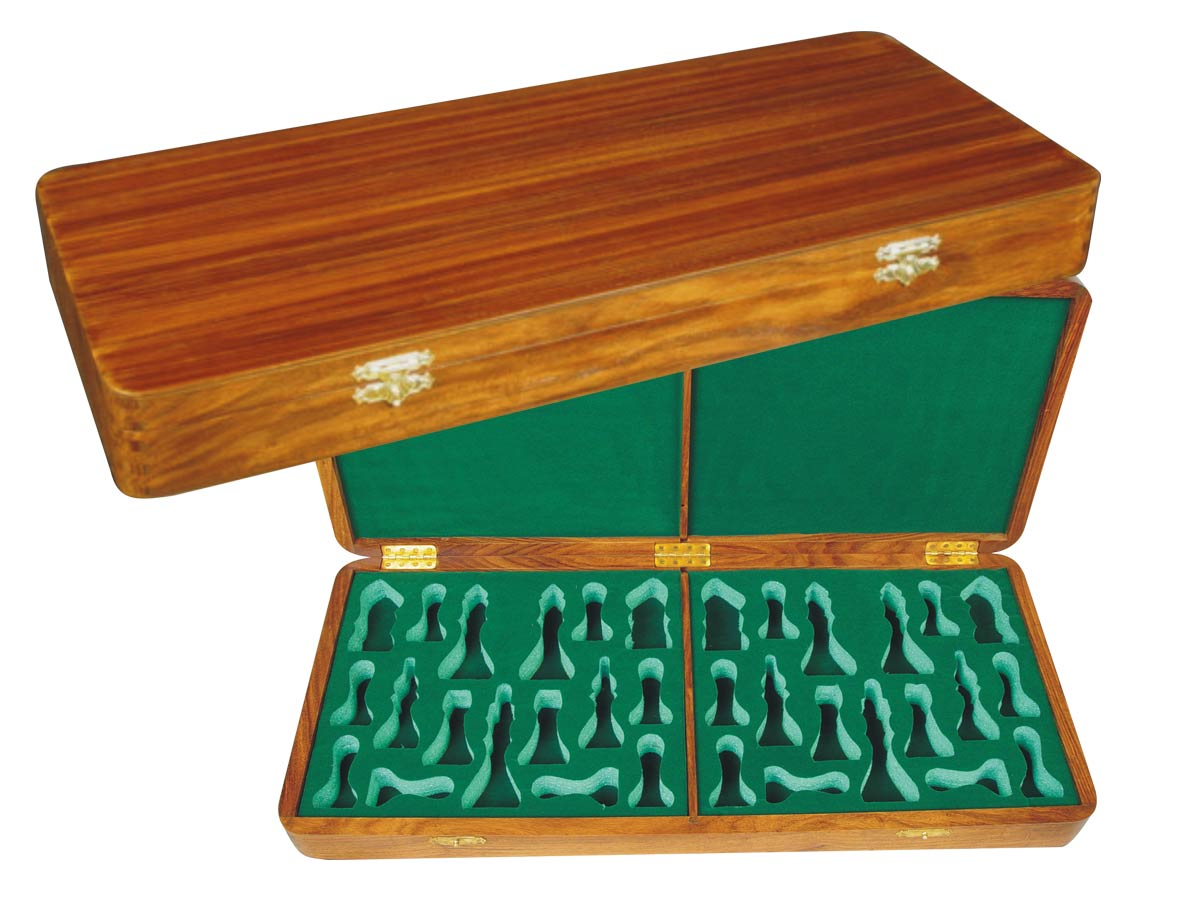 "Wooden Presentation Box for Chess Pieces from King Size 3-3/4"" to 4"" Golden Rosewood"
