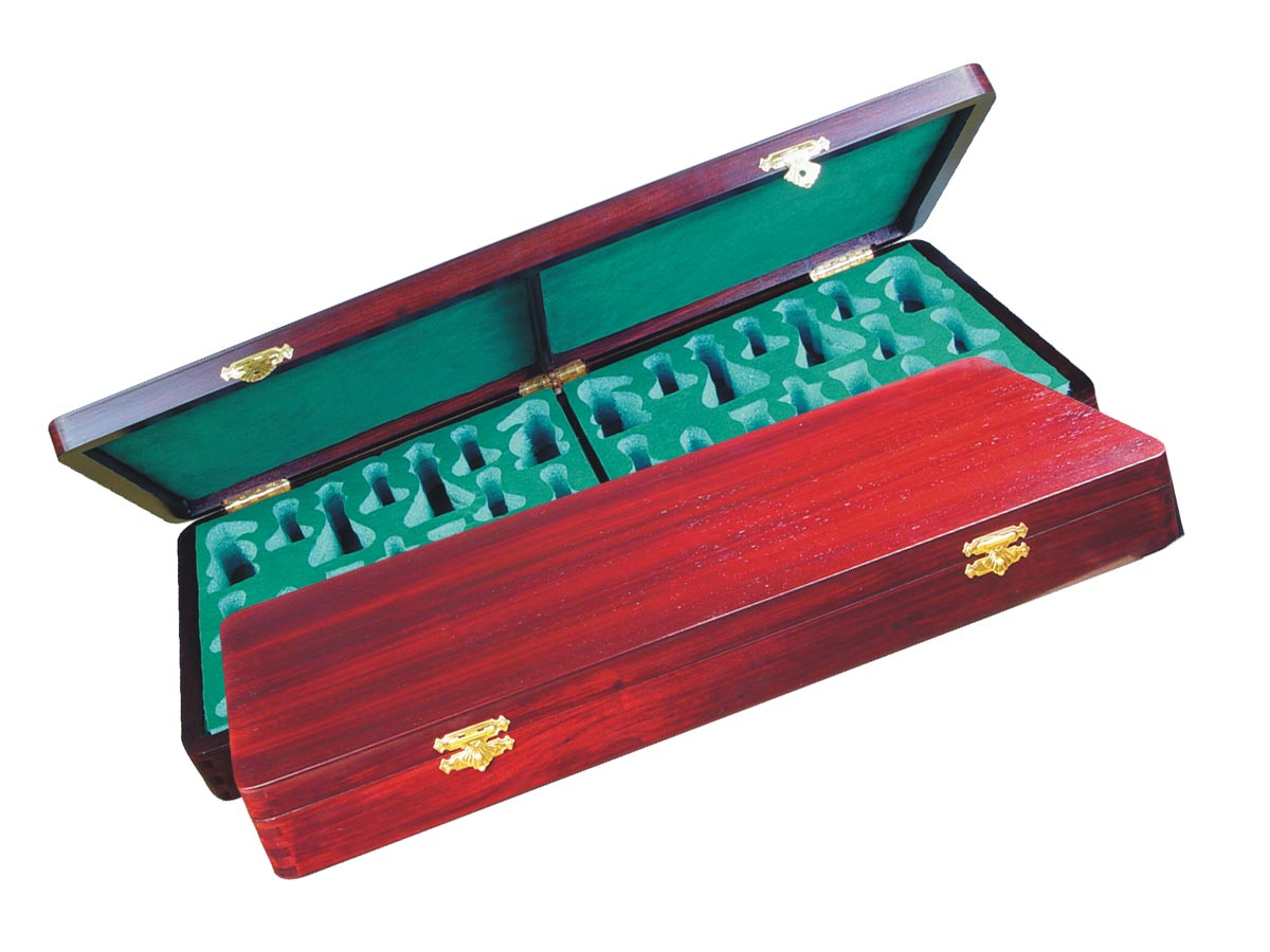 "Wooden Presentation Box for Chess Pieces from King Size 4"" to 4-1/2"" Rosewood Colored"