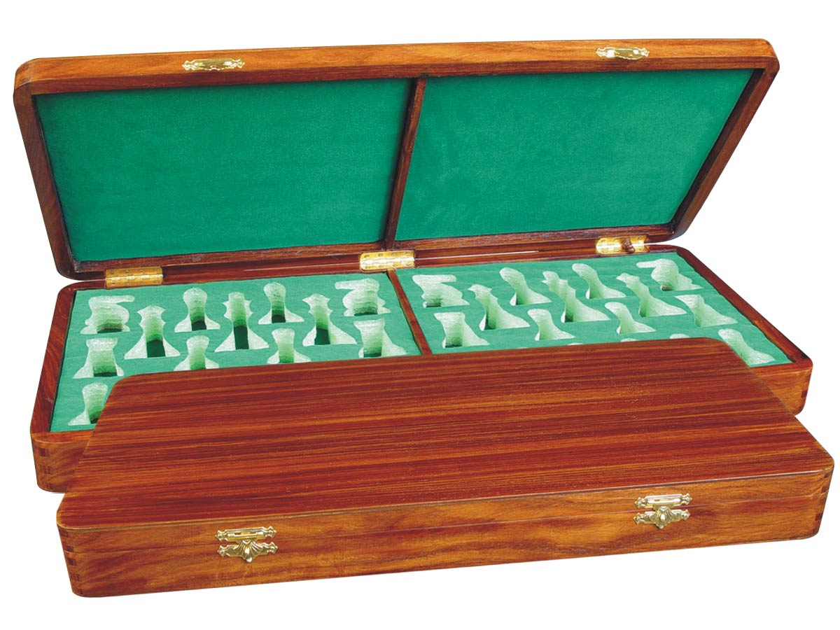 "Wooden Presentation Box for Chess Pieces from King Size 4"" to 4-1/2"" Walnut Colored"